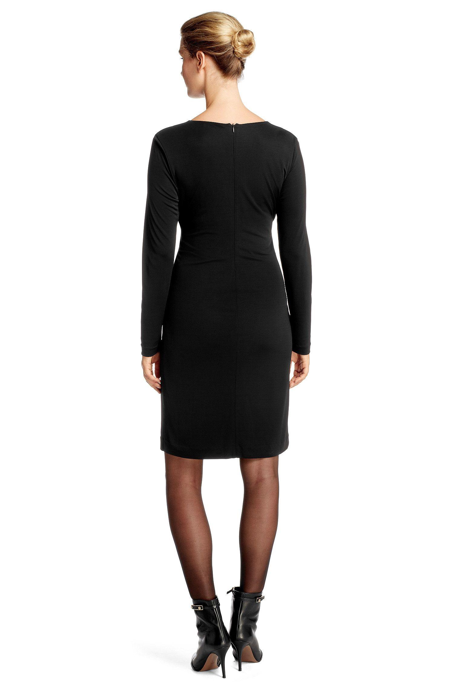 Jersey jurk 'E4873' met stoffen ceintuur