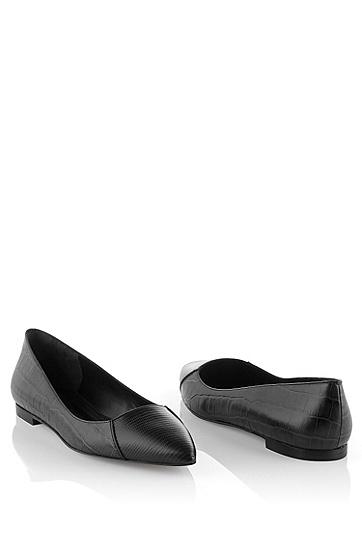 Ballerina ´Crela` aus Leder mit Kroko-Prägung, Schwarz