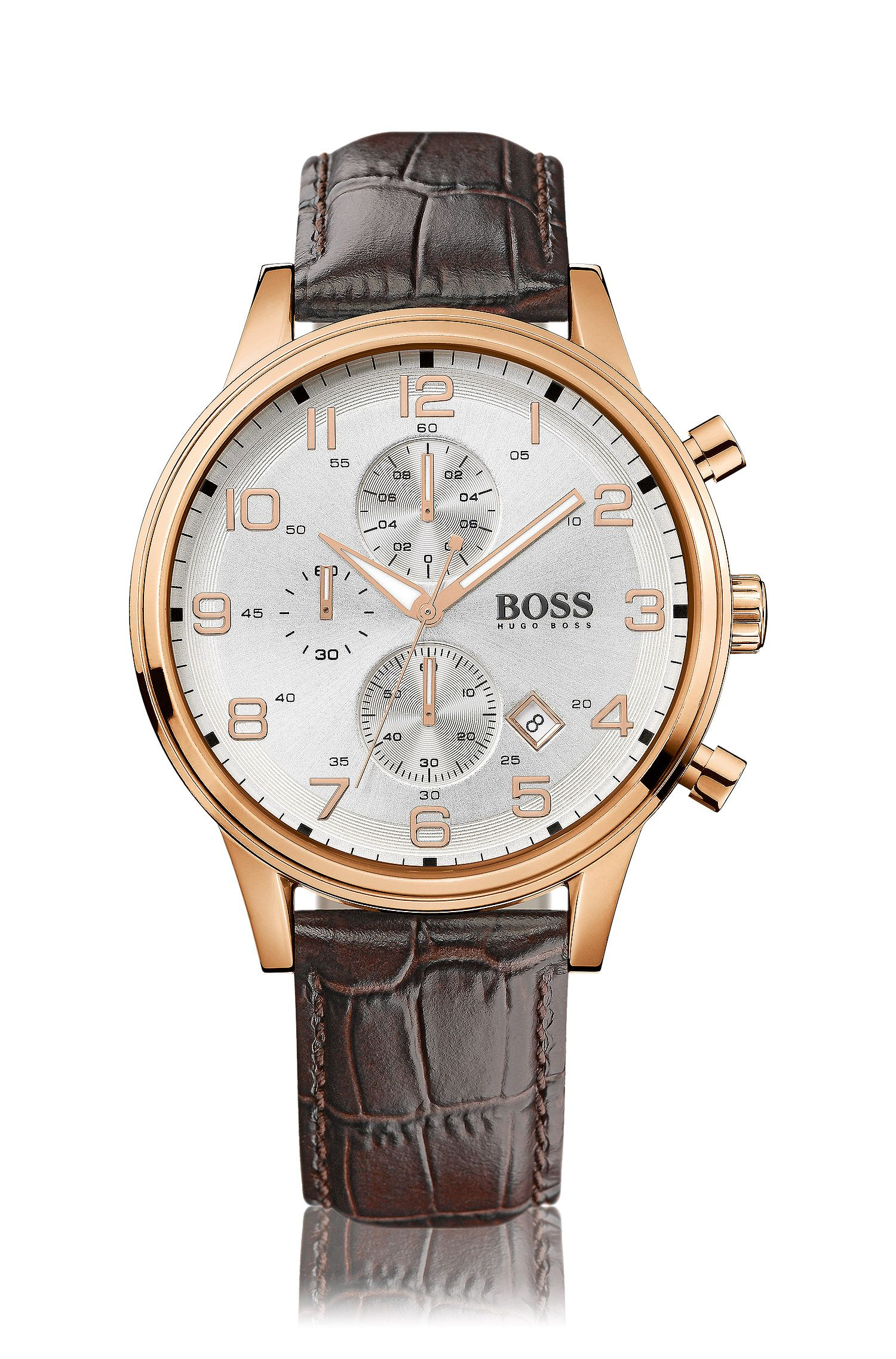 Chronograph with a gold-plated stainless-steel case and leather strap: 'HB881'