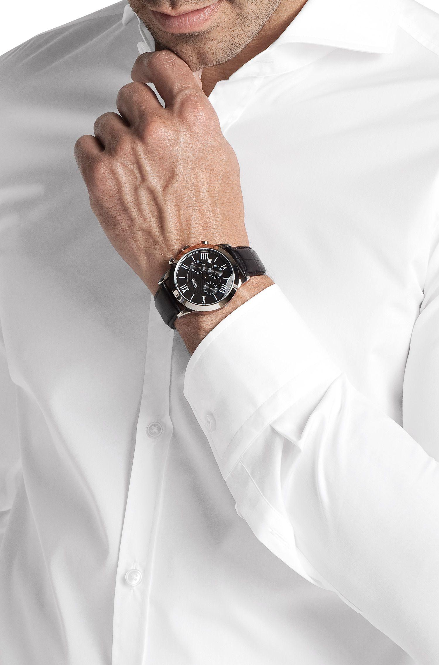 Chronographe pour homme «HB 2022» à bracelet en cuir