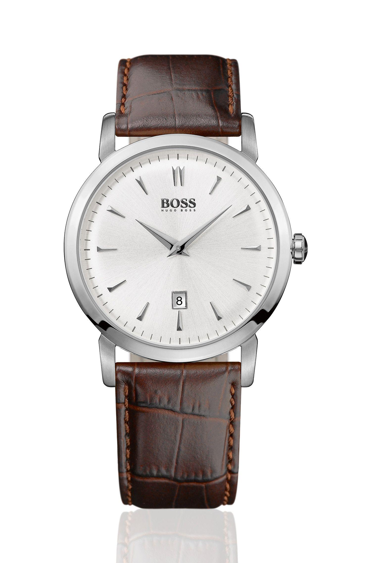 Montre design «HB1013» à bracelet en cuir