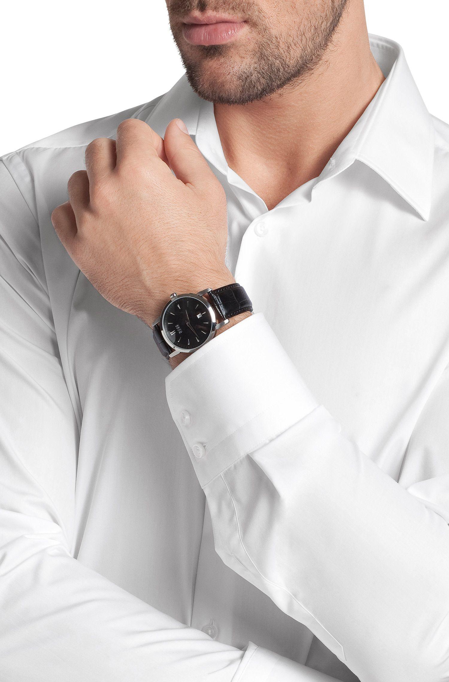 Montre à deux aiguilles avec boîtier en acier inoxydable et bracelet en cuir: «HB1013»