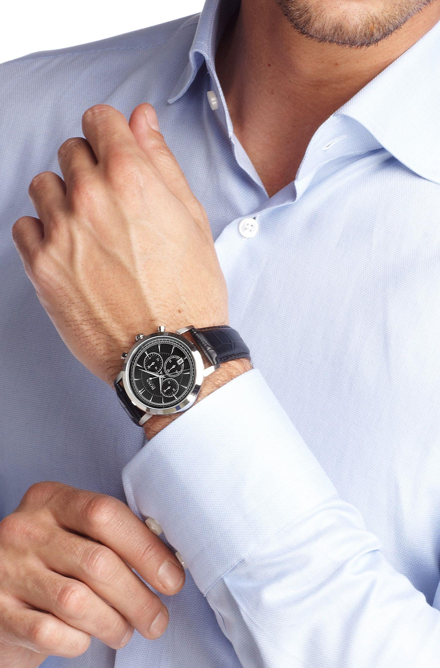 Montre à bracelet en cuir estampillé, HB 1013