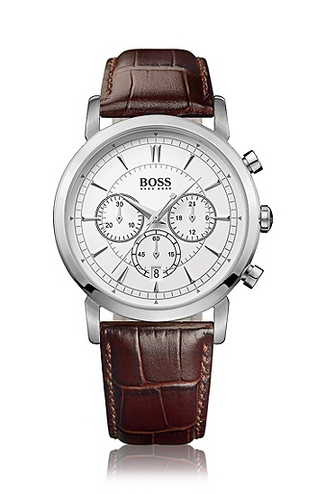 Men's chronograph 'HB1013' with a leather strap, Assorted-Pre-Pack