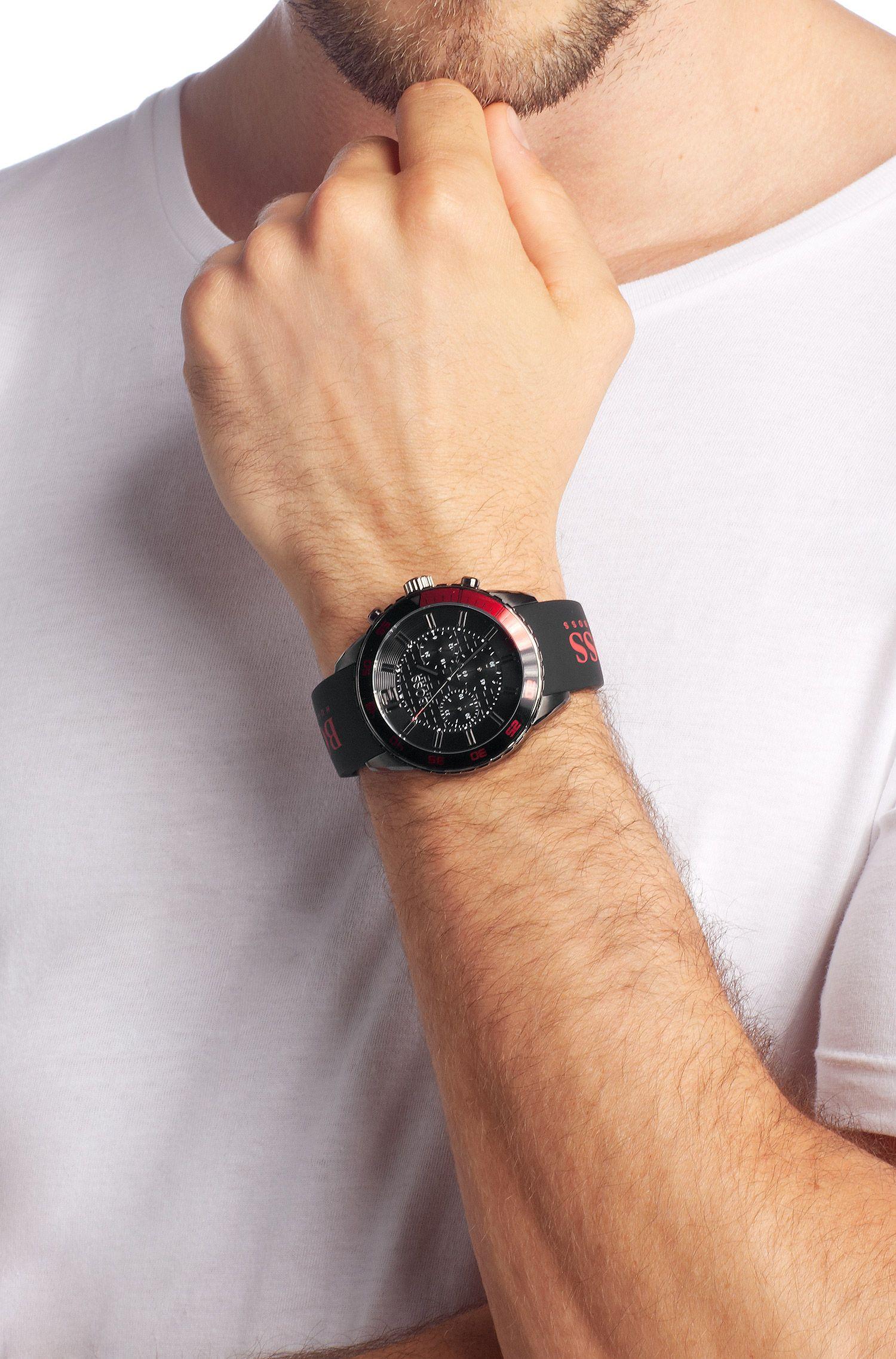 Chronograph aus Edelstahl mit Alarm-Funktion: 'HB2033-1512901 BLKS-SCBLK'