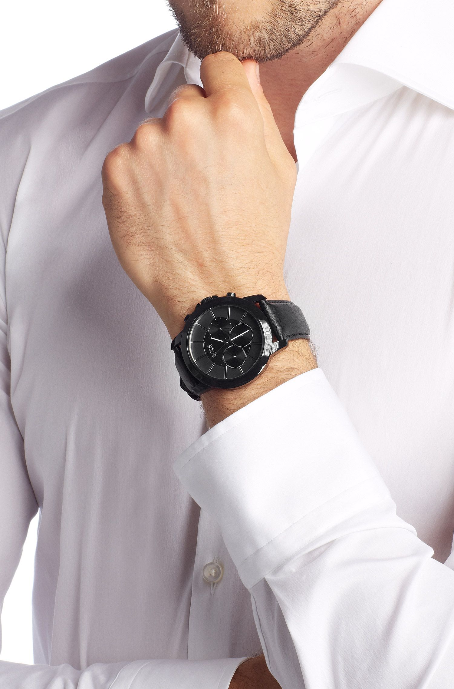 Montre pour homme «HB6018» avec bracelet en cuir