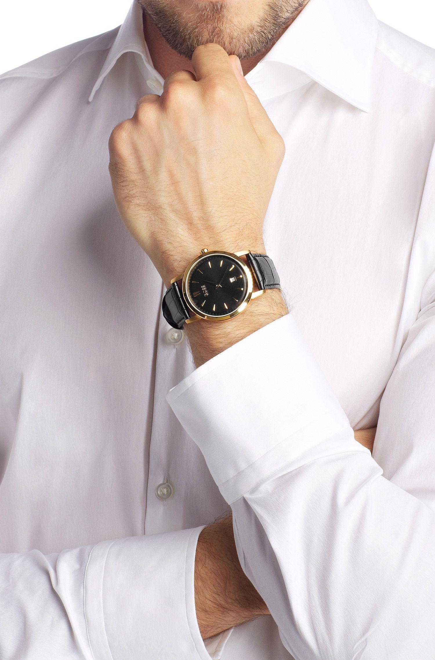 Montre homme à bracelet en cuir, HB1013