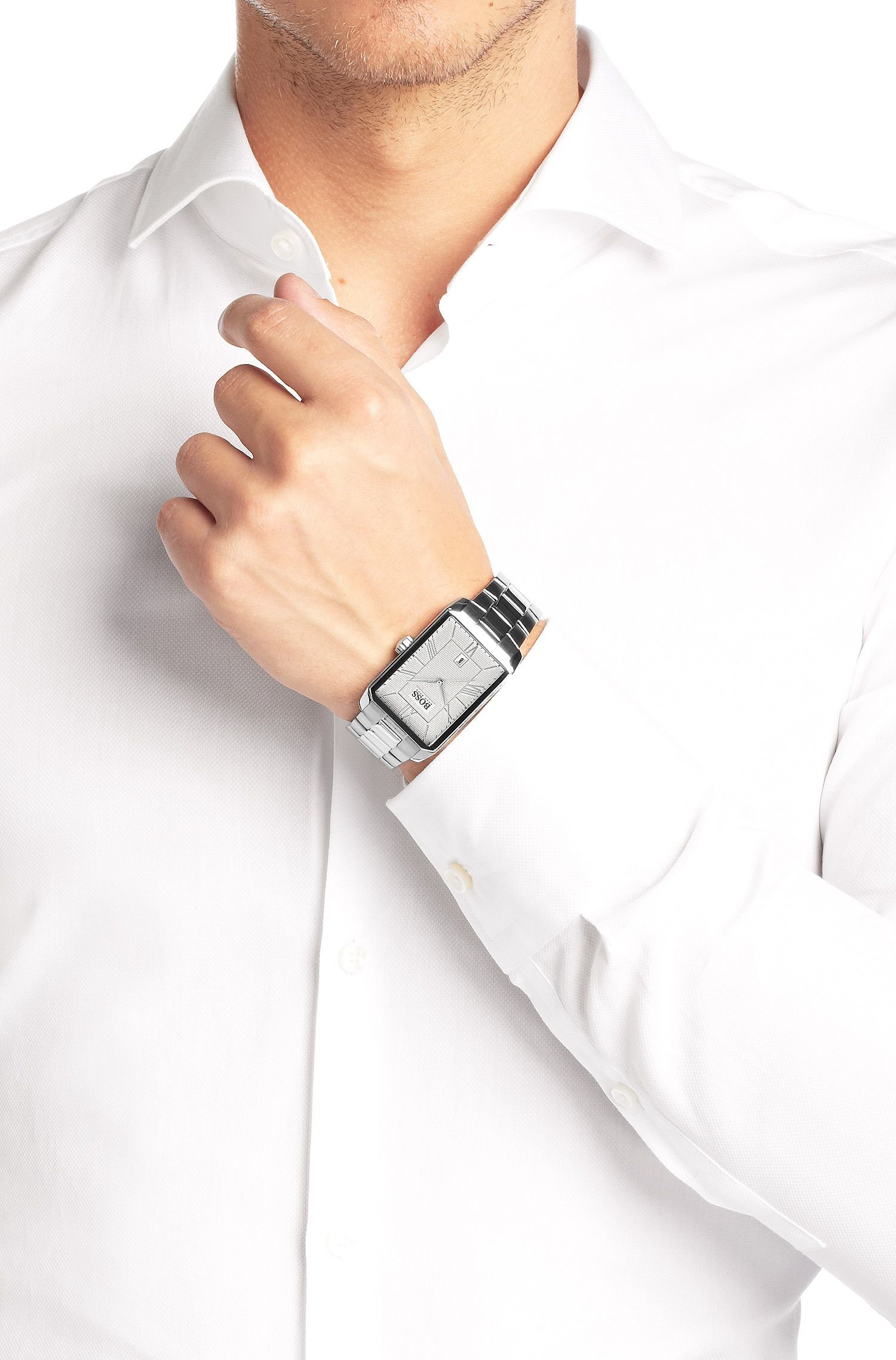 Montre-bracelet «HB6023» en acier inoxydable brillant