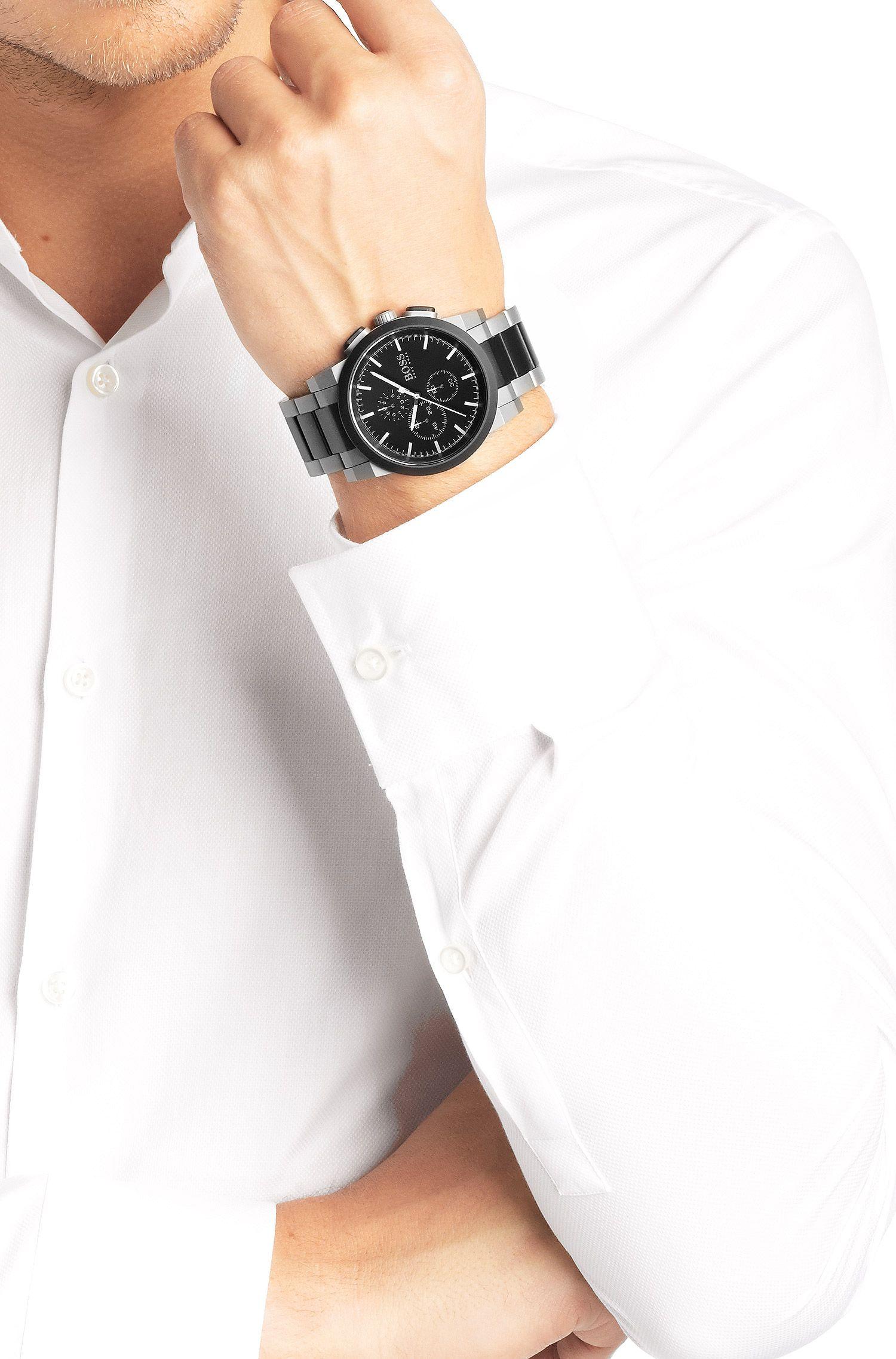 Montre chronographe «HB6026» en acier inoxydable avec mouvement à quartz