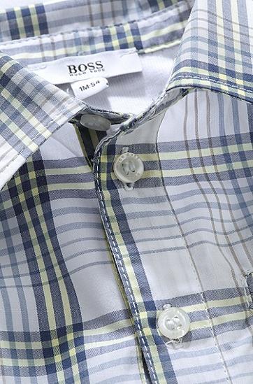 'J97067'   Infant Cotton Jersey and Check Poplin Shirt Onesie, Light Blue