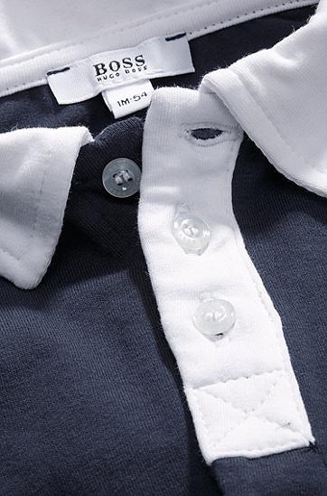 'J98097' | Infant Cotton Jersey Polo Onesie and Bib Set, Dark Blue