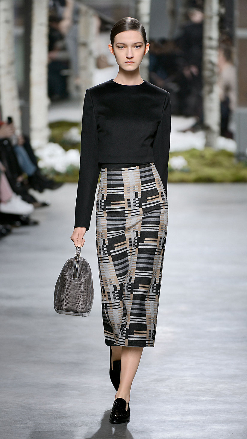 A Bauhaus-inspired look on the Fall/Winter 2014 runway at New York Fashion Week