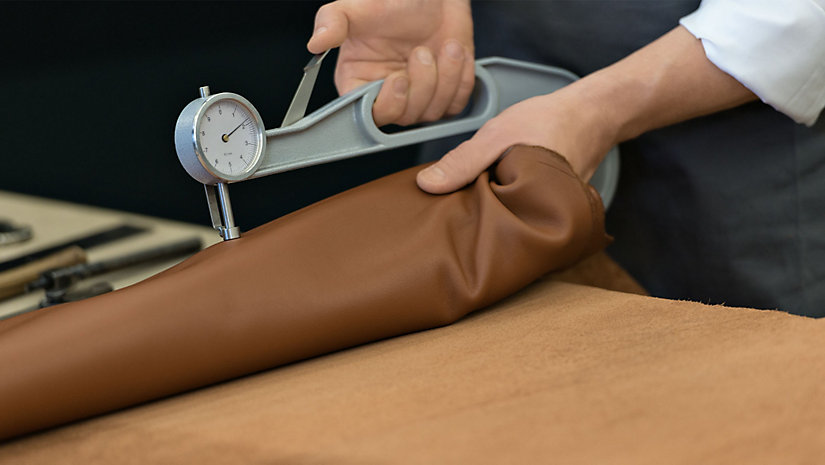 The thickness of each piece of leather is measured before the bag is constructed, to ensure perfect craftsmanship.