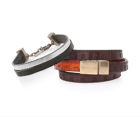 Two leather bracelets by BOSS Orange