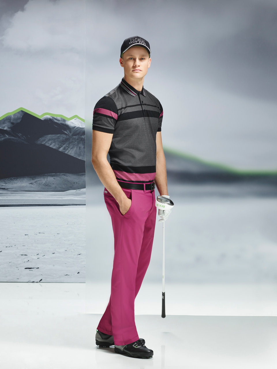 Black striped jersey, pink trousers, black baseball cap and black belt by BOSS Green