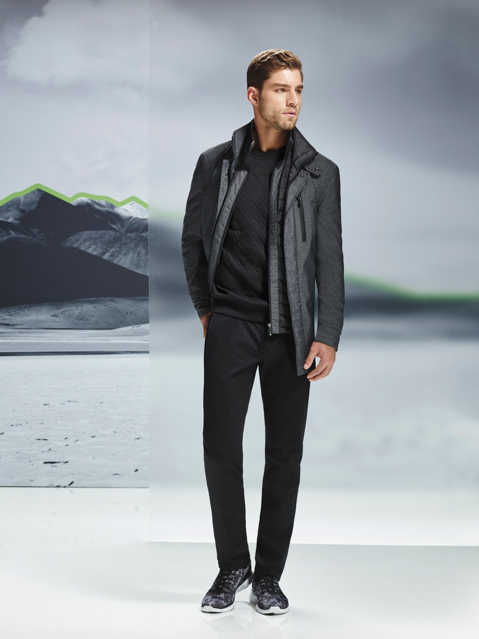 Silver outdoor jacket in quilted look by BOSS Green