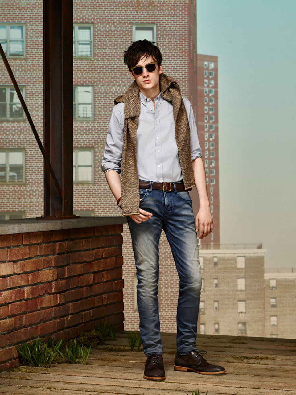 Brown vest, light blue shirt, blue jeans and dark brown shoes by BOSS Orange