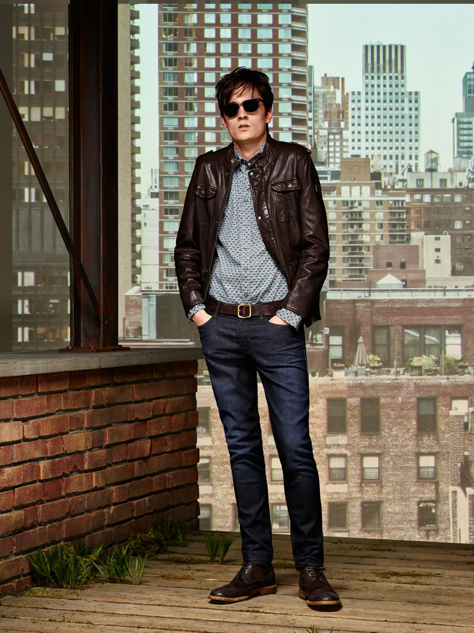 Dark brown leather jacket, grey shirt and dark brown shoes by BOSS Orange