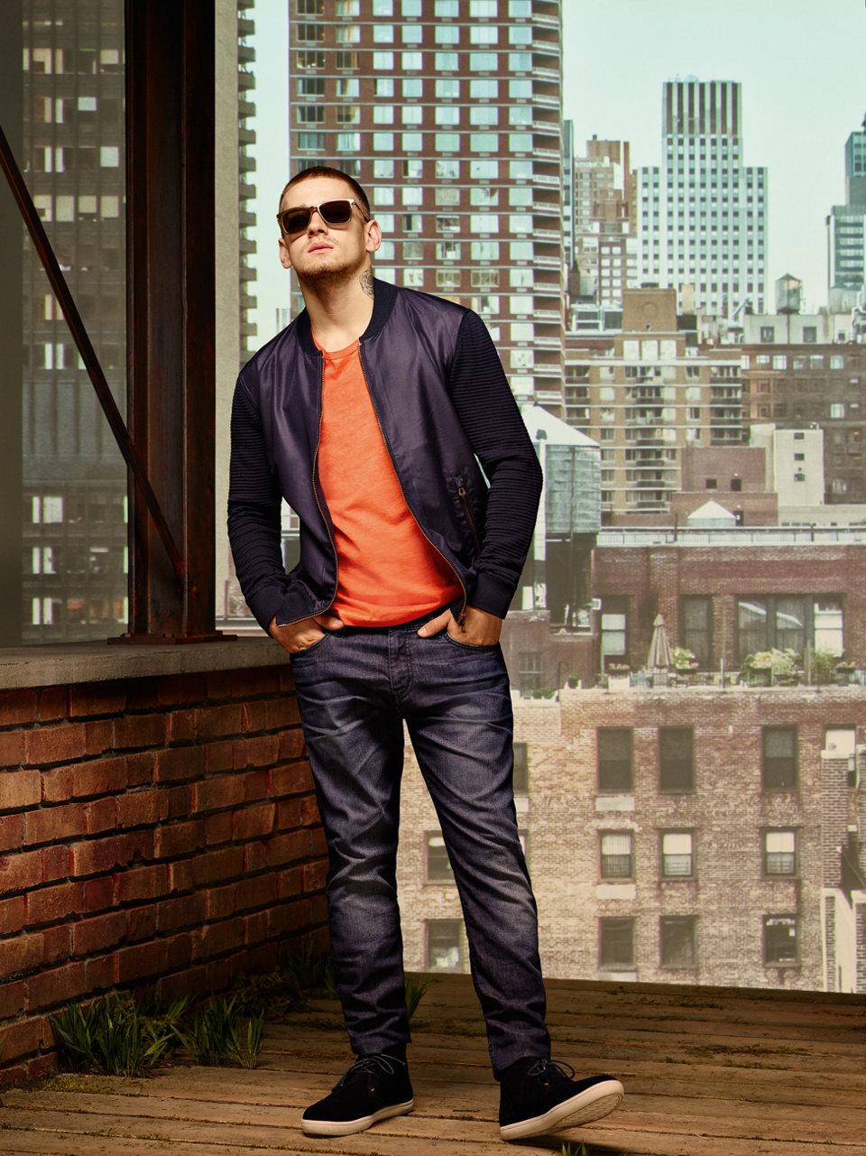 Blue knitwear tailored jacket byBOSSOrange