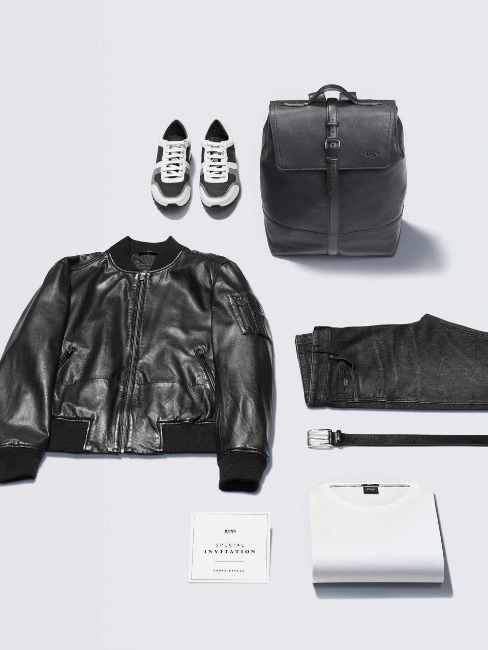 Schwarzes Sweatshirt und schwarze Jeans vonBOSS