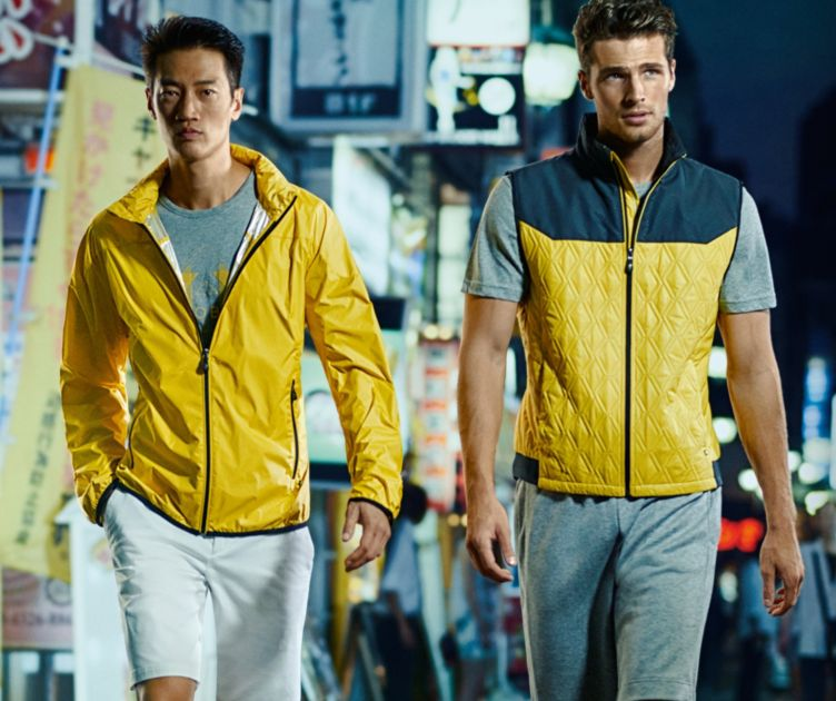 Yellow jacket, grey t-shirt and yellow jacket by BOSS Green