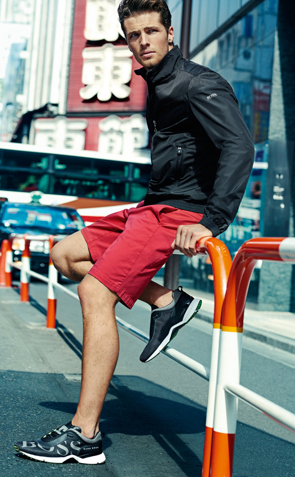 Black outerwear and red shorts byBOSSGreen