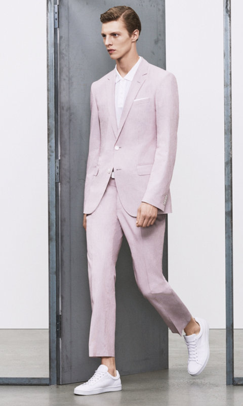 Patterned suit and white shoes by BOSS