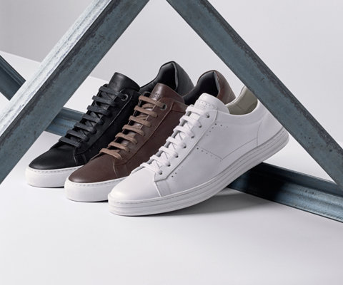 White, brown and black sneakers by BOSS