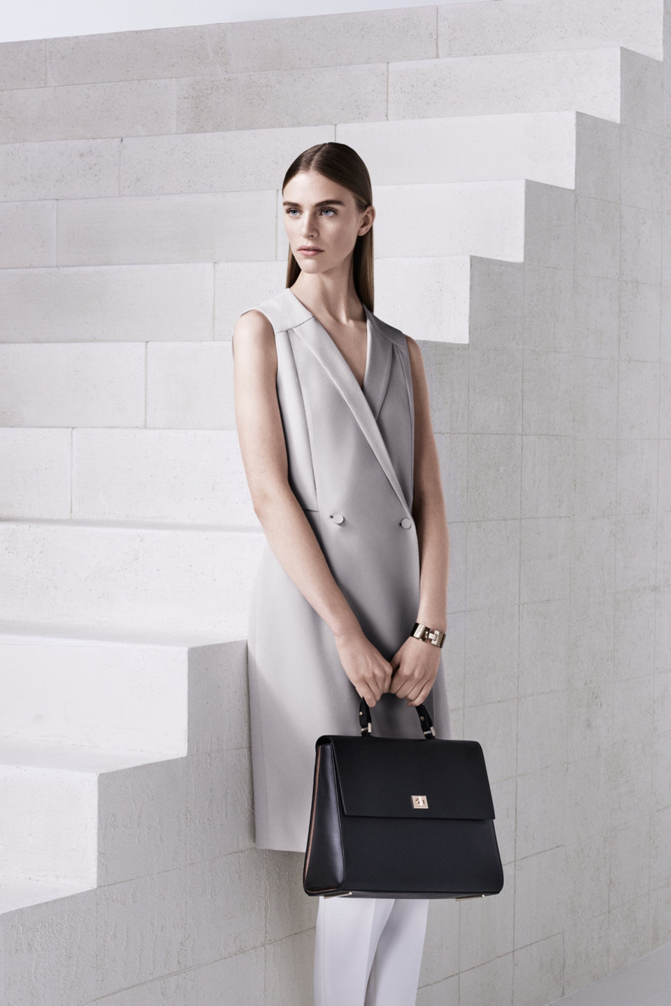 Silver dress, silver trousers and black bag by BOSS