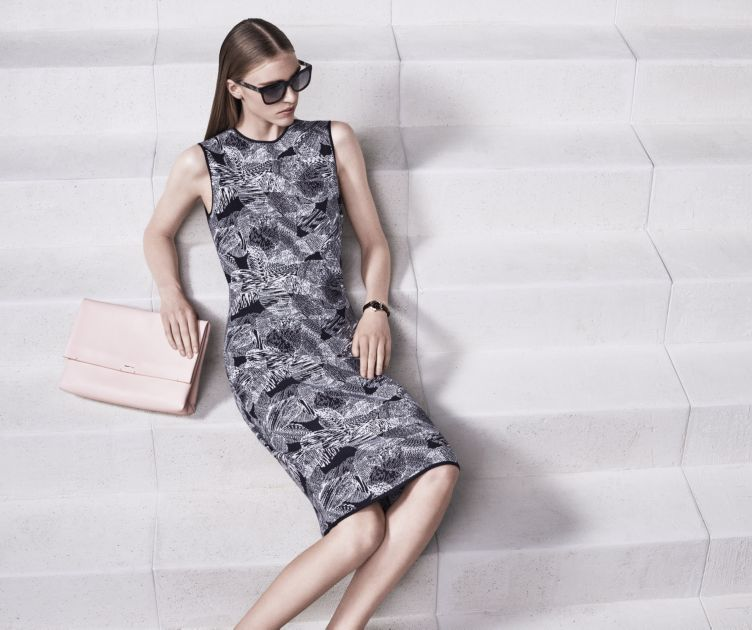 Patterned dress and light pink bag by BOSS