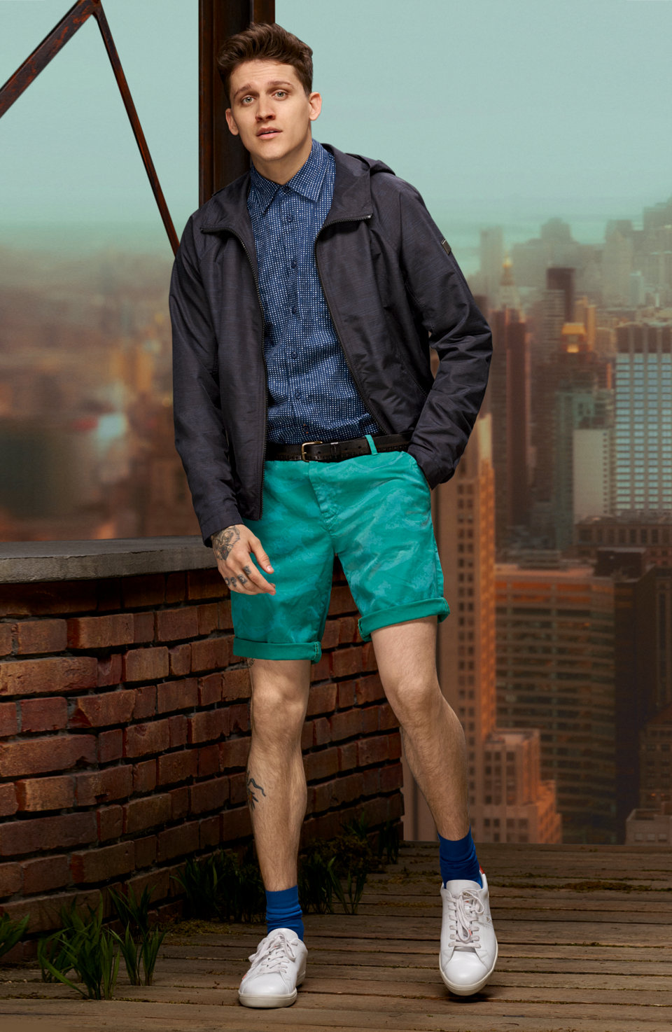 Dark blue outerwear, dark blue shirt and black belt byBOSSOrange
