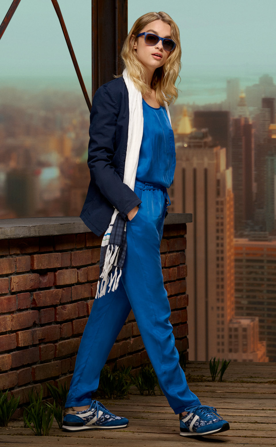Blue jacket, blue top and blue trousers byBOSSOrange