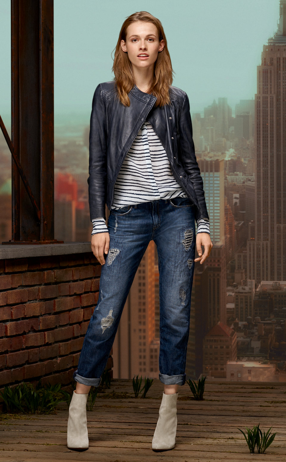 Blue leather jacket, striped blouse and blue jeans by BOSS Orange