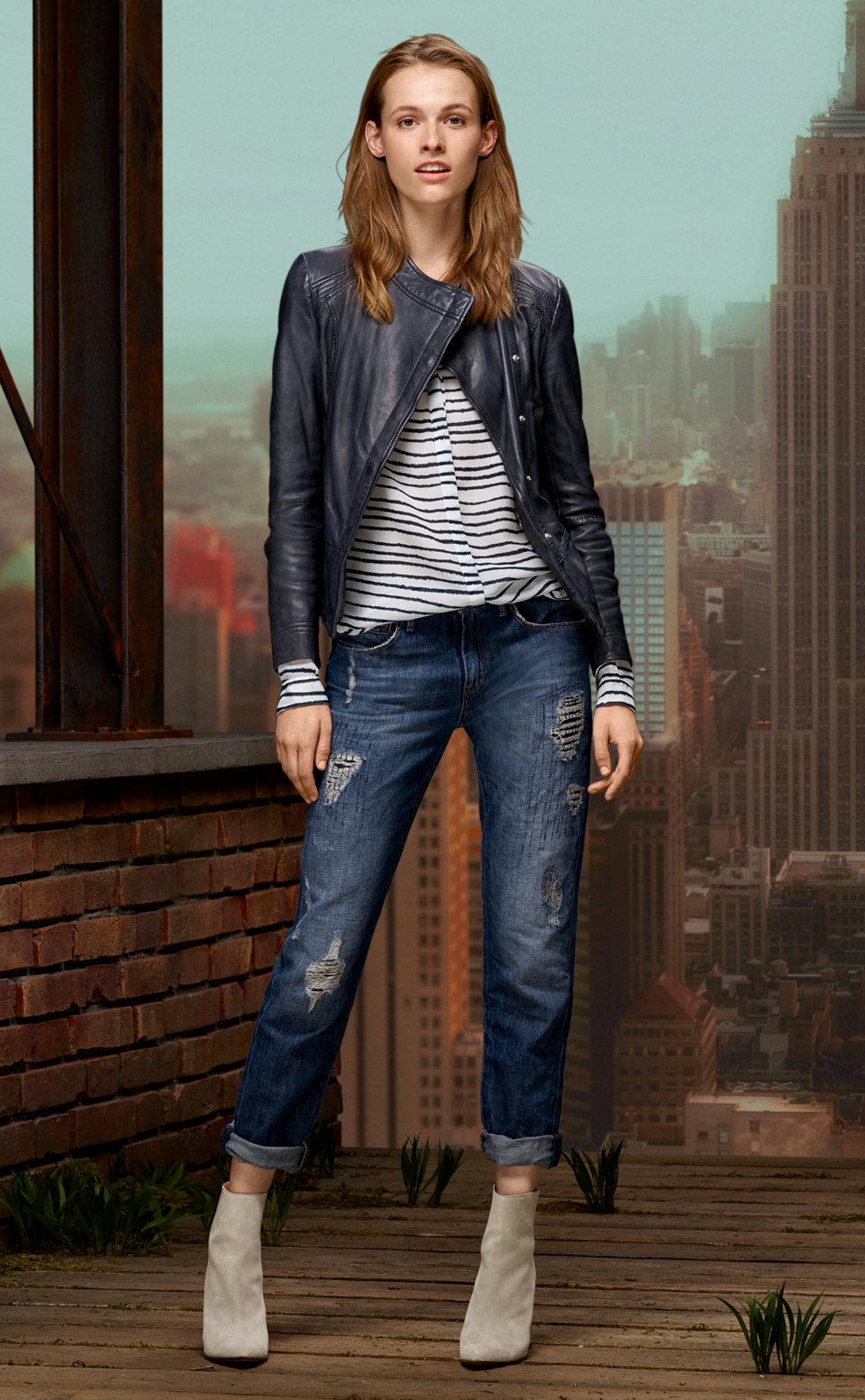 Blue leather jacket, striped blouse and blue jeans byBOSSOrange