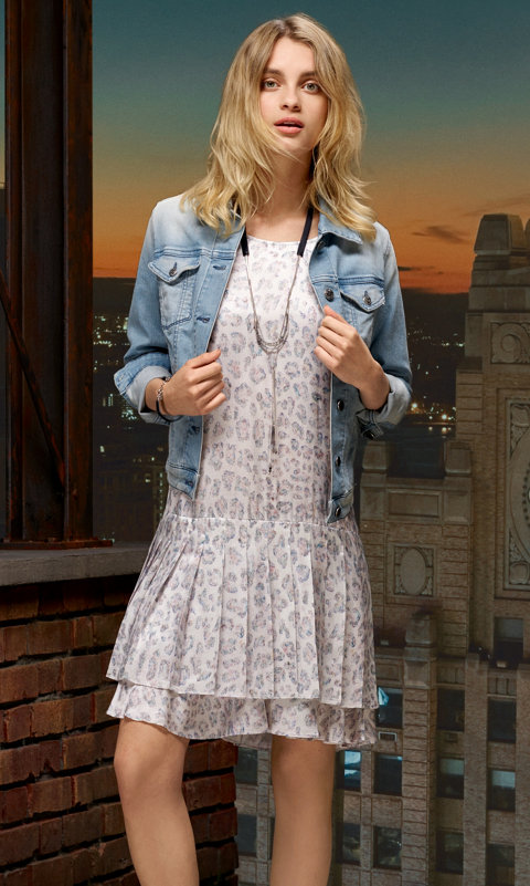 Blue jeans jacket and patterned dress by BOSS Orange