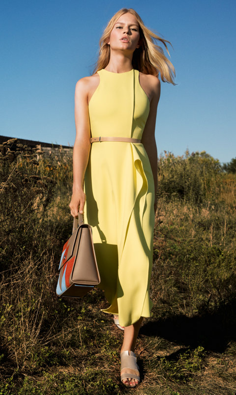 Yellow dress and patchwork BOSS bespoke bag