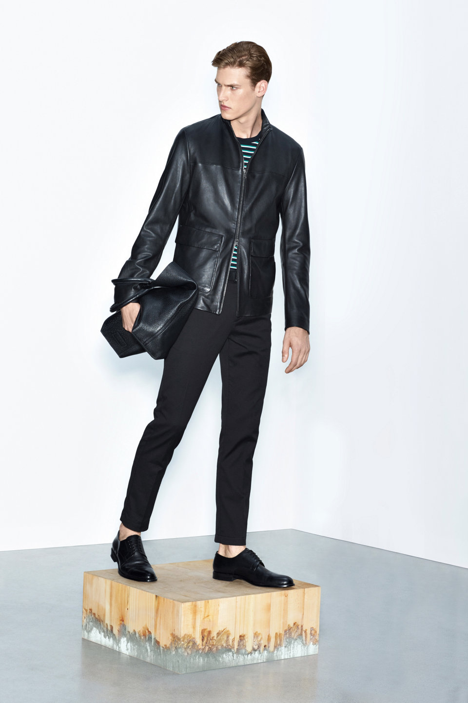 Black leather jacket, black trousers and black leather shoes by BOSS