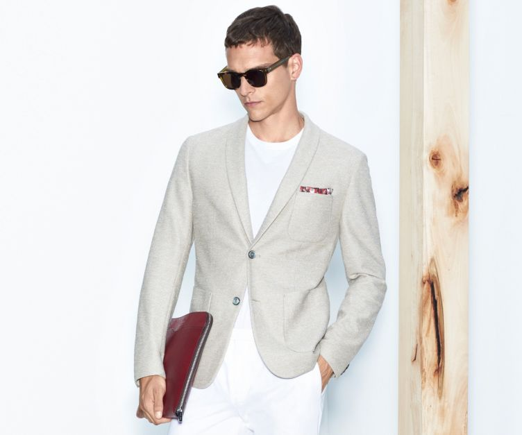Beige jacket, white t-shirt and white trousers by BOSS