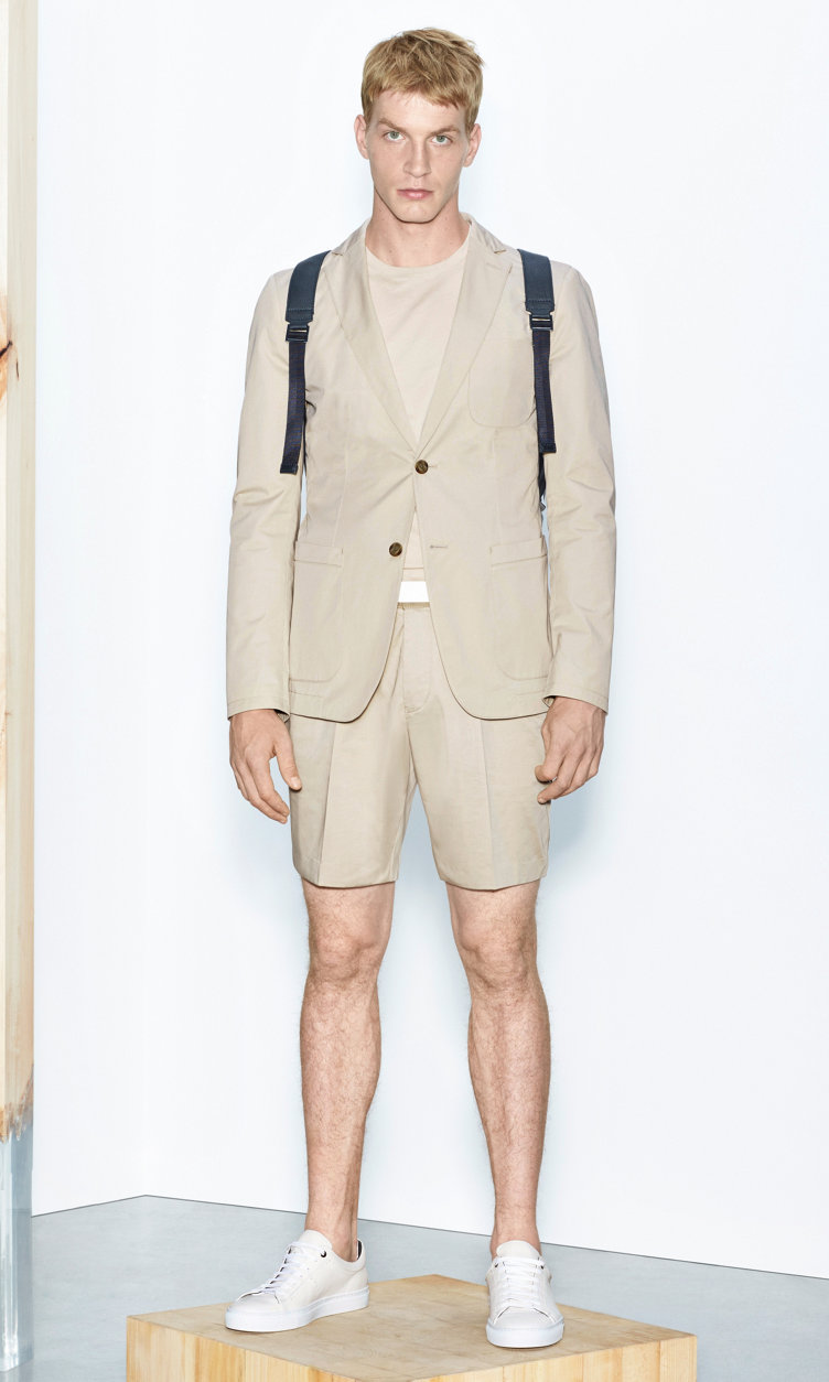 Beige jacket, white t-shirt and beige shorts by BOSS