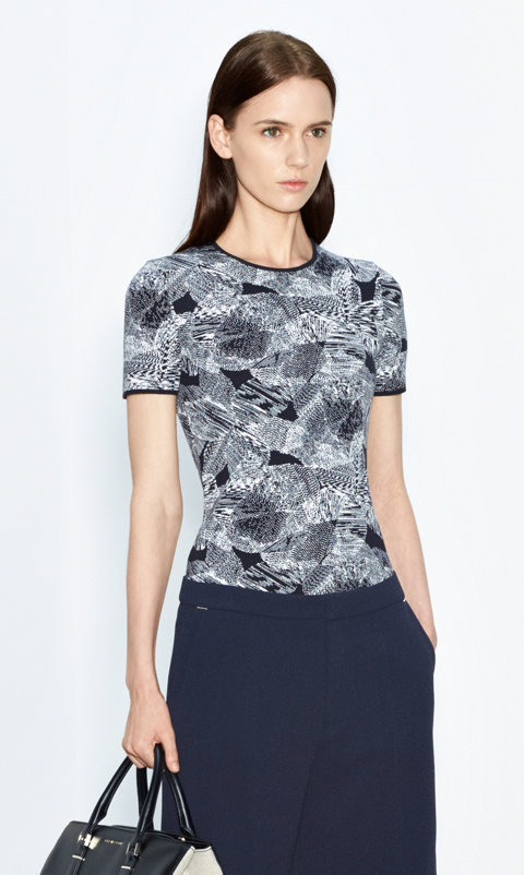 Patterned knitwear and dark blue shorts by BOSS