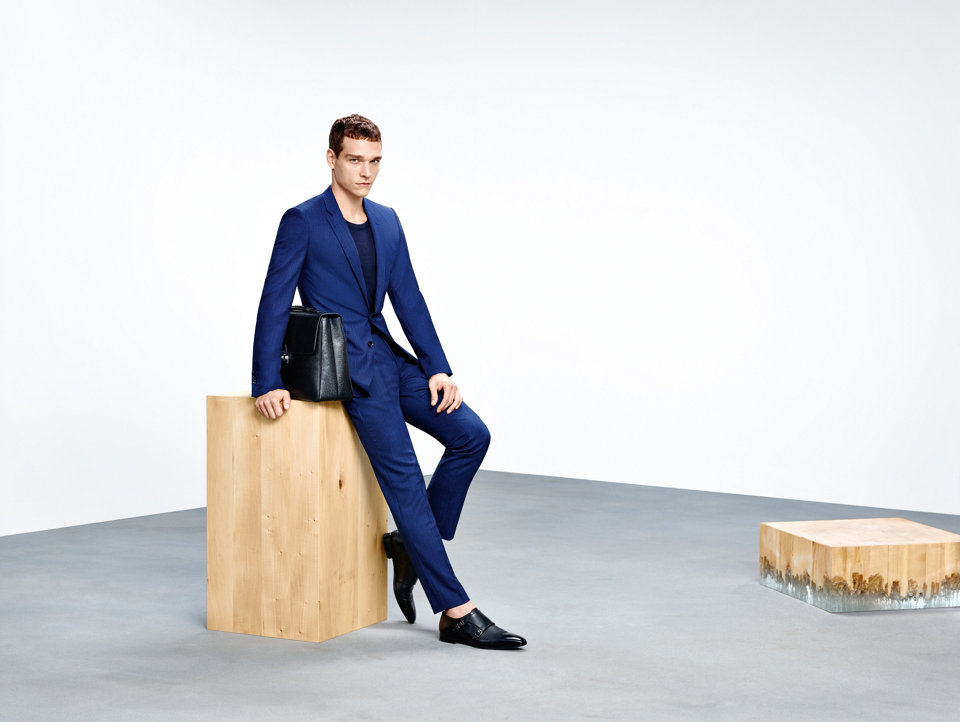 Blue suit, knitwear and shoes by BOSS