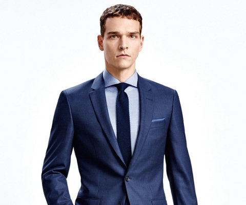 Dark blue suit and blue shirt by BOSS