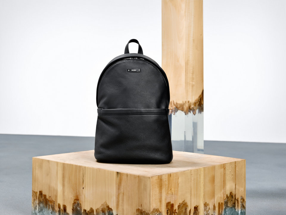 Black leather backpack by BOSS