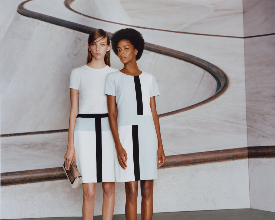 White dress with black color blocking by HUGO