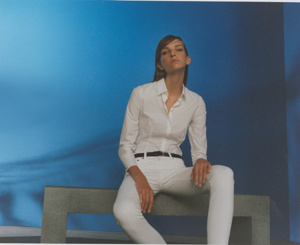 White blouse and white trousers by HUGO
