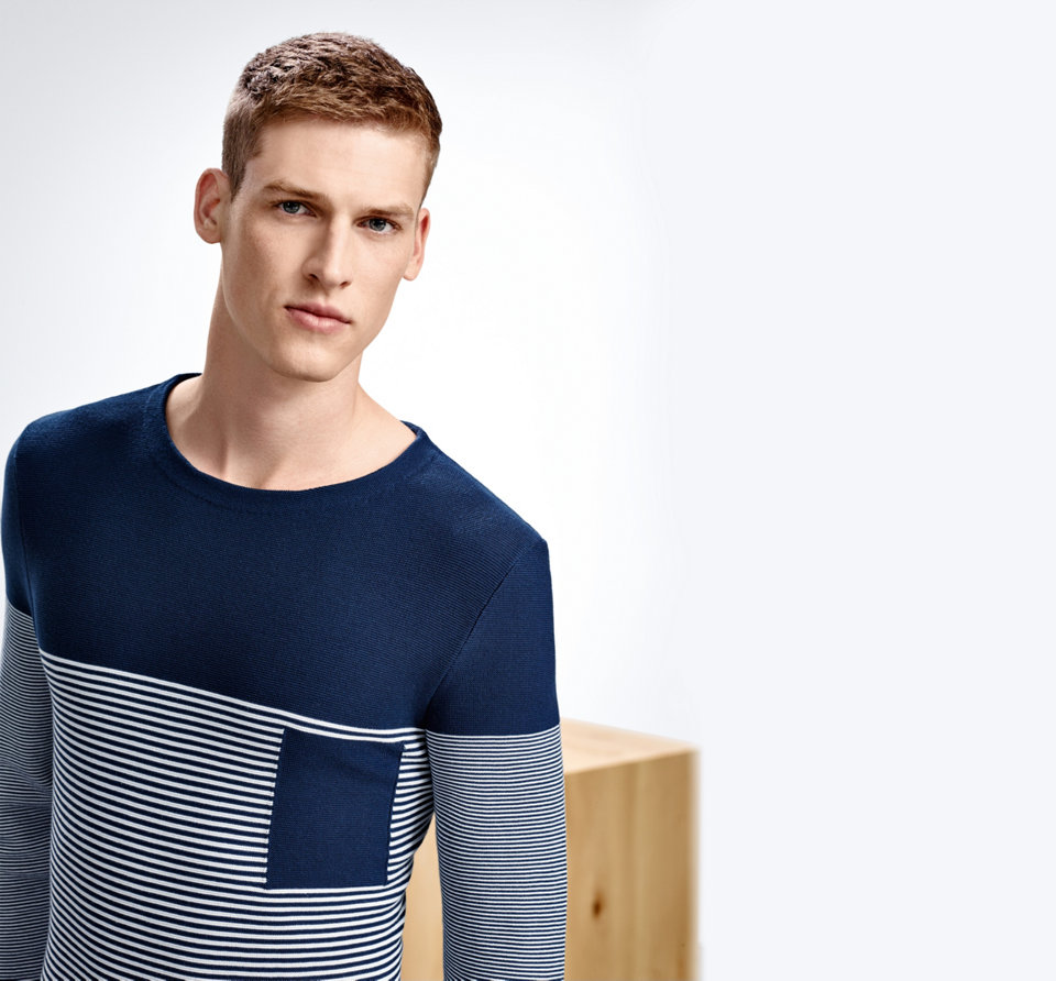 Blue sweater for men by BOSS