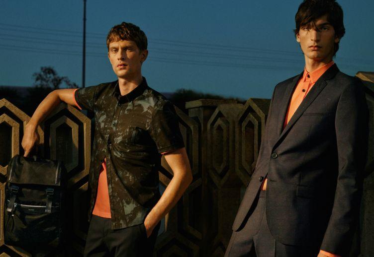 Dark blue suit and orange shirt by HUGO