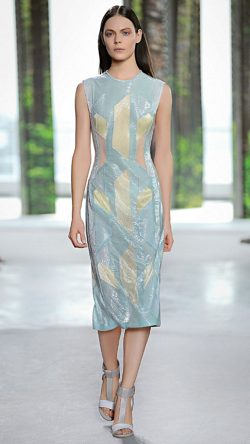 A Bauhaus-inspired look on the Spring/Summer 2015 runway at New York Fashion Week
