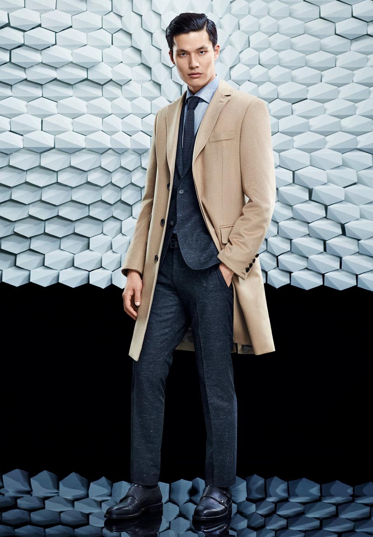 BOSS灰色夹克和蓝色大衣