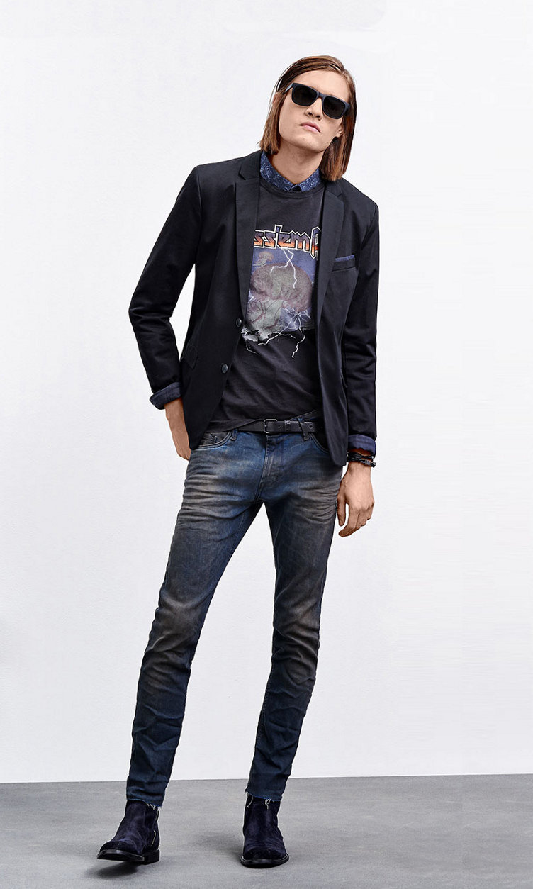Black Jacket, T-shirt with print, Jeans, shoes and jewelry by BOSS Orange